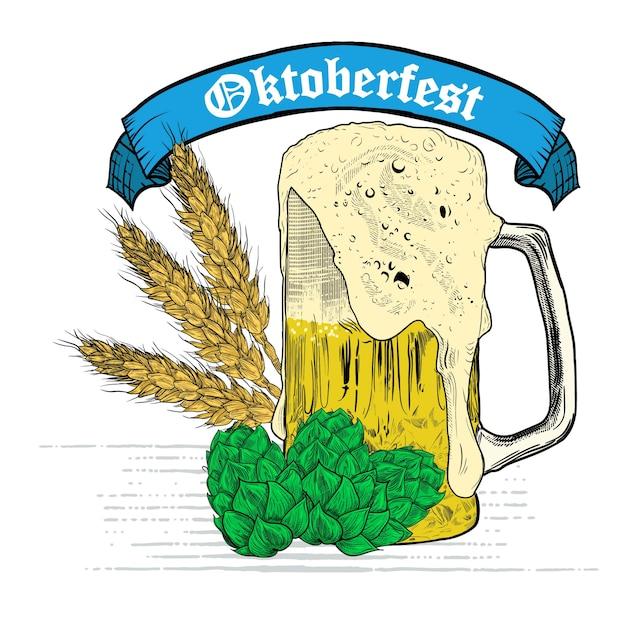 Weizenbierwerbung, bier und farbband. weinlesevektor-stichillustration für plakat, einladung zur partei. hand gezeichnetes gestaltungselement lokalisiert auf weißem hintergrund Premium Vektoren