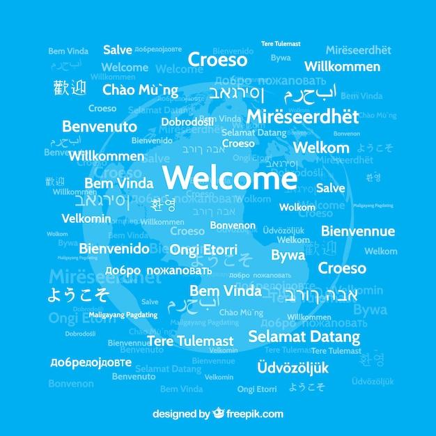 Welcome komposition hintergrund in verschiedenen sprachen Kostenlosen Vektoren