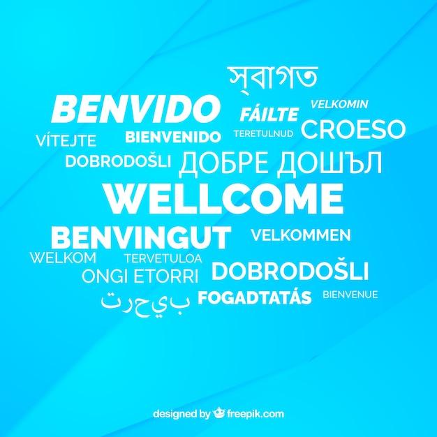 Welcome komposition hintergrund mit verschiedenen sprachen Kostenlosen Vektoren