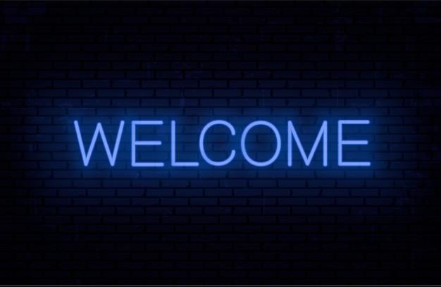 Welcome - ready inschrift vorlage für neon schild. Premium Vektoren