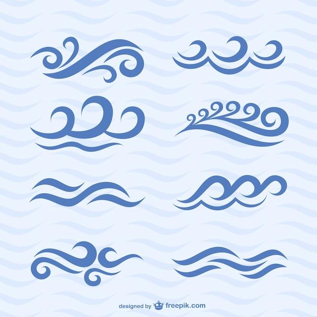 Welle icons vektor-set Kostenlosen Vektoren