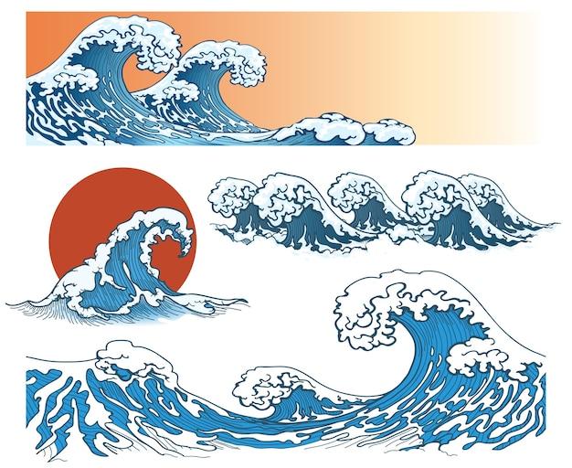 Wellen im japanischen stil. meereswelle, ozeanwellenspritzer, sturmwelle. vektorillustration Kostenlosen Vektoren