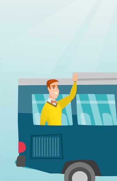 Wellenartig bewegende hand des jungen kaukasischen mannes vom busfenster. Premium Vektoren