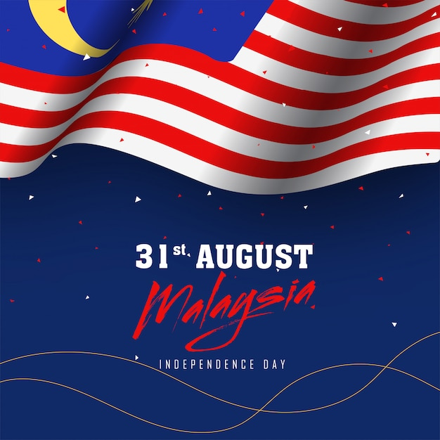 Wellenartig bewegende malaysische flagge auf blauem hintergrund des konfettis Premium Vektoren