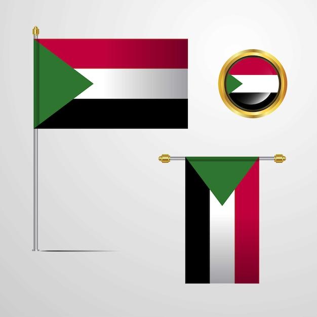 Wellenartig bewegender flaggenentwurf sudans mit ausweisvektor Kostenlosen Vektoren