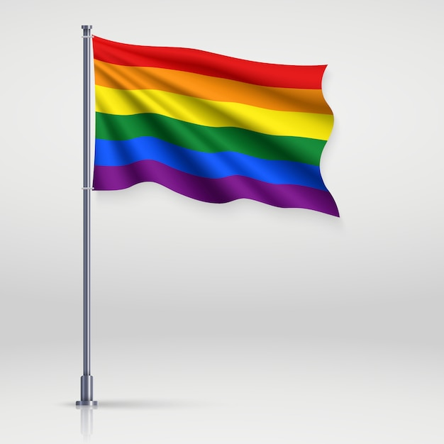 Wellenartig bewegendes band mit flagge des lgbt-stolzes. Premium Vektoren