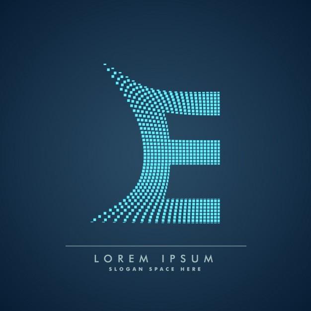 Wellenförmige buchstaben e-logo in der abstrakten art Kostenlosen Vektoren