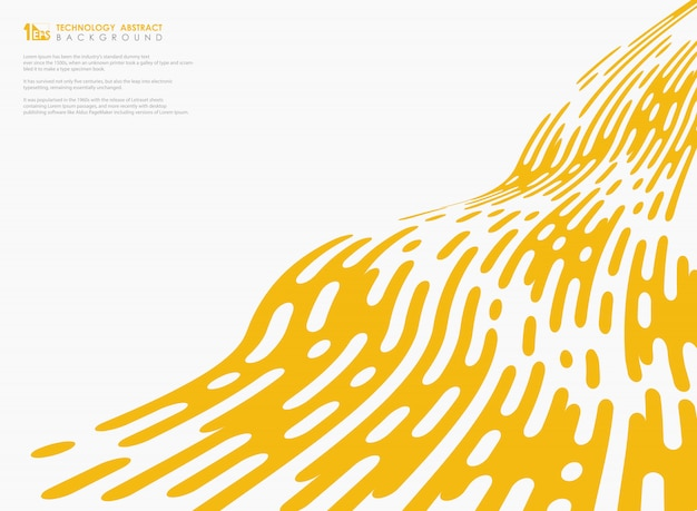 Wellenförmige linie dekoration des abstrakten gelben farbtechnologiestreifens auf weißem hintergrund Premium Vektoren