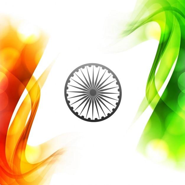 Wellenförmige tricolor indischen flagge design Kostenlosen Vektoren