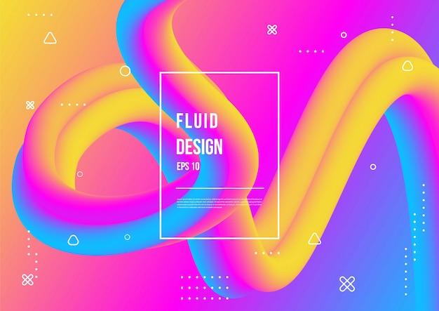 Wellenförmiges geometrisches mit flüssigem hintergrund. trendige farbverlaufsformen zusammensetzung Premium Vektoren