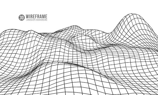 Wellenförmiges gitter 3d. Premium Vektoren