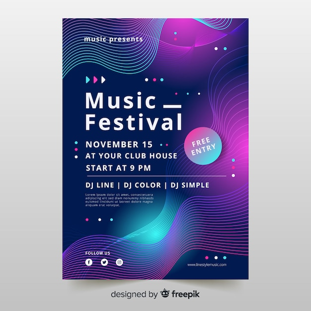 Wellenmusik-plakatschablone mit abstrakten formen Kostenlosen Vektoren