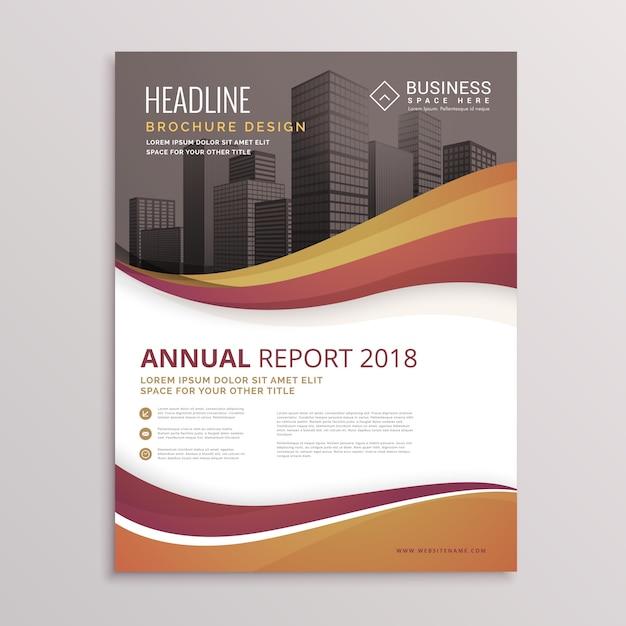 wellige Zusammenfassung Broschüre Flyer Design-Vektor-Vorlage für Unternehmen in der Größe A4 Kostenlose Vektoren
