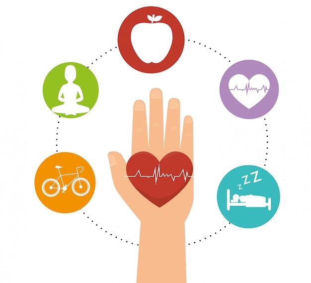 Wellness gesunde lebensweise symbole Premium Vektoren