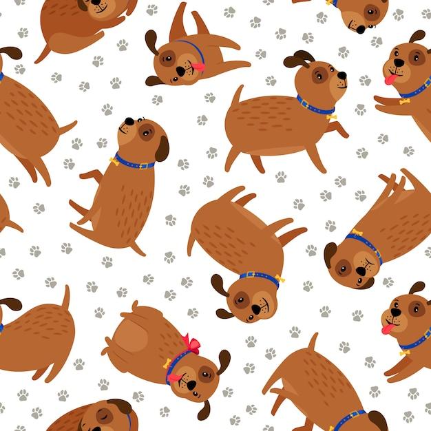 Welpe nahtlose muster. netter lustiger hundetiercharakter mit den haustiertatzenabdrücken Premium Vektoren