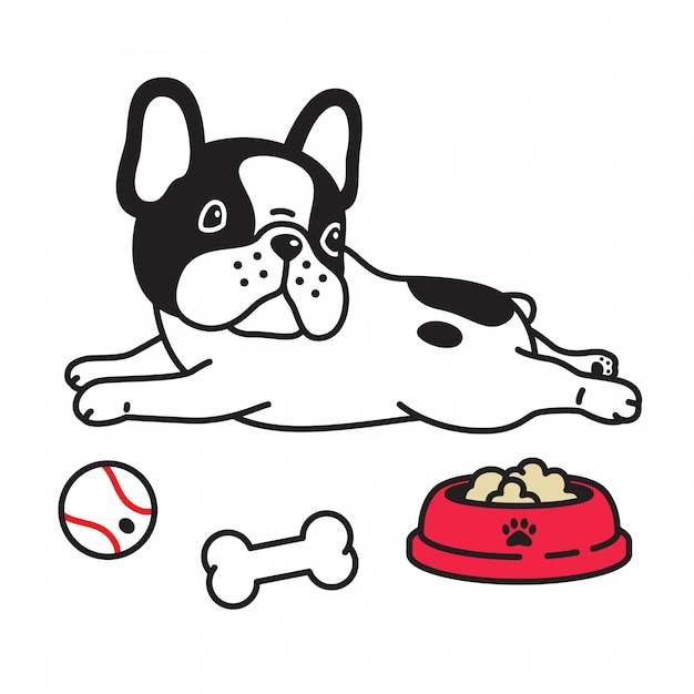 Welpenlebensmittelschüsselballknochenkarikatur des hundevektors französische bulldogge Premium Vektoren