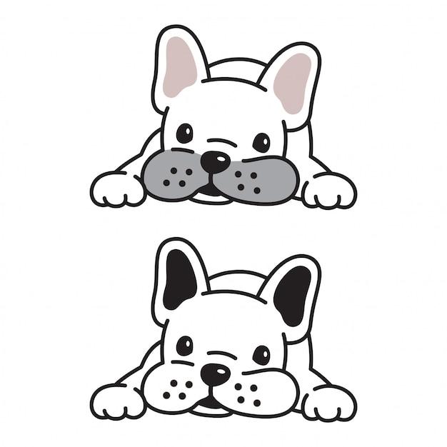 Welpenzeichentrickfilm-figur der französischen bulldogge des hundevektors Premium Vektoren