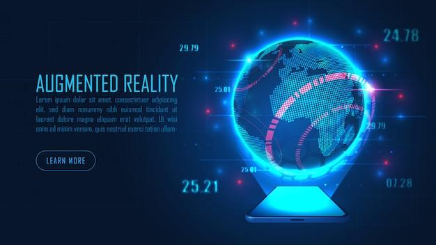 Welt augmented reality vom smartphone im futuristischen hintergrundkonzept Premium Vektoren