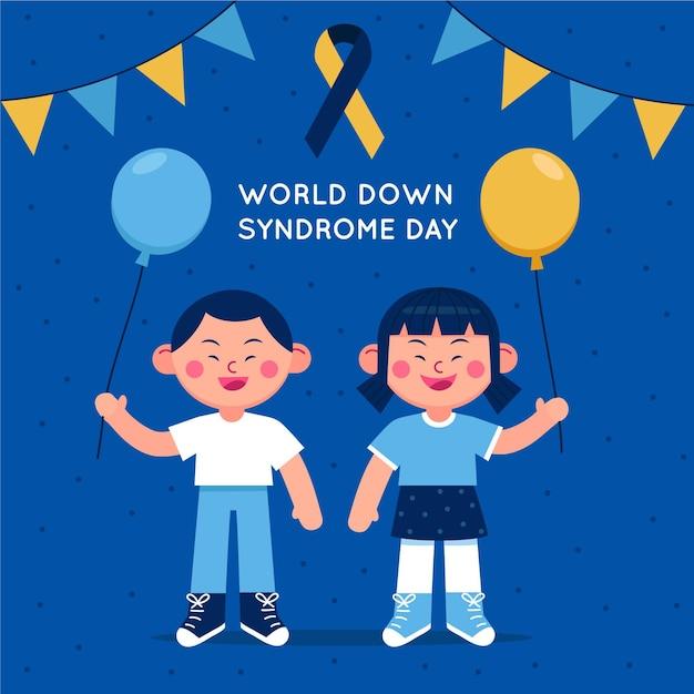 Welt-down-syndrom-tagesillustration mit kindern, die luftballons halten Kostenlosen Vektoren