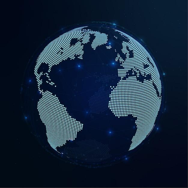 Welt dunkelblaue hintergrundillustration Premium Vektoren