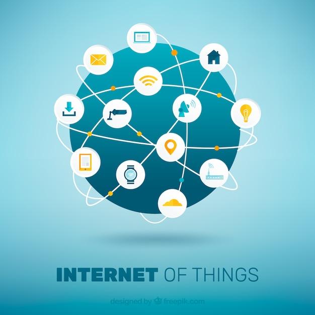 Welt hintergrund mit dem internet verbunden Kostenlosen Vektoren