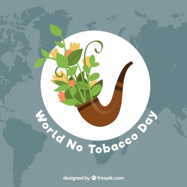 Welt kein Tabak Tag Hintergrund mit Rohr voller Pflanzen Kostenlose Vektoren