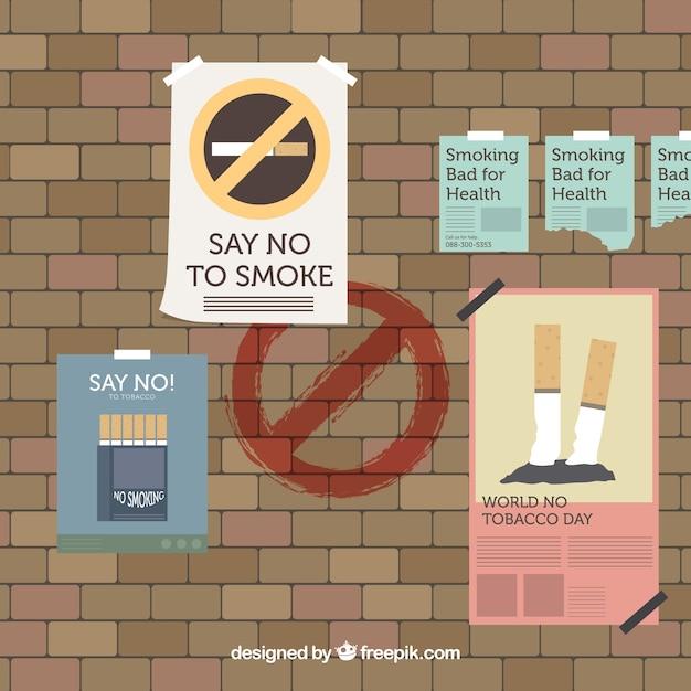 Welt kein Tabak Tag Hintergrund mit Wand mit Plakaten Kostenlose Vektoren