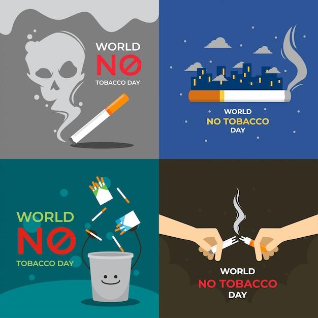 Welt keine tabak-tagesillustration Premium Vektoren