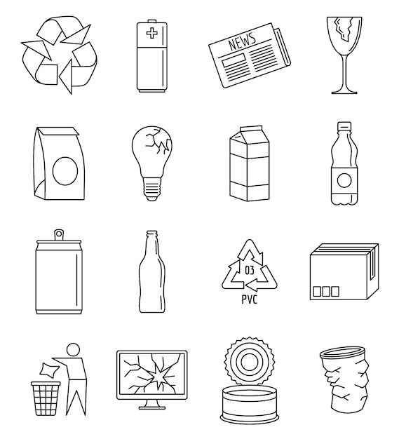 Welt recycelt tagesikonensatz Premium Vektoren