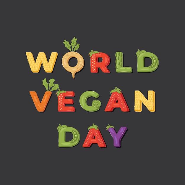 Welt vegan day illustration. Premium Vektoren