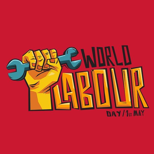 Weltarbeitstag schriftzug mit illustration Kostenlosen Vektoren