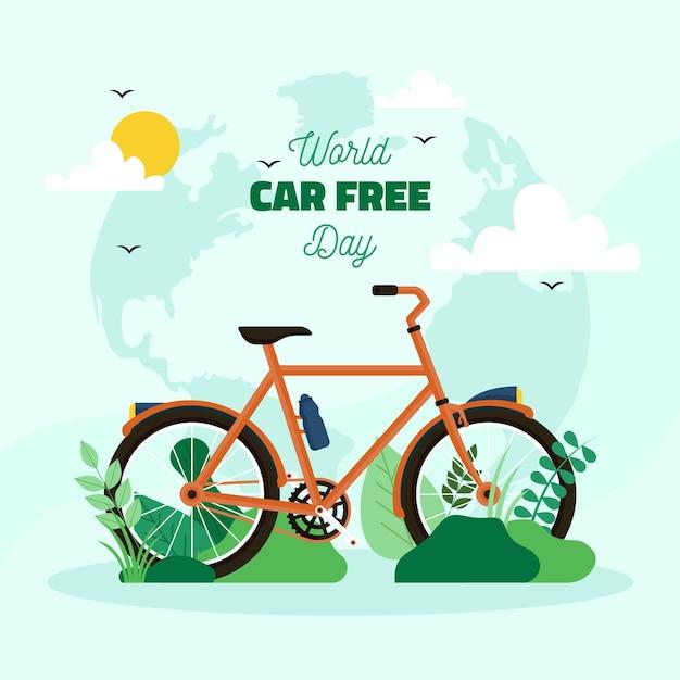 Weltautofreier tag flacher designhintergrund Premium Vektoren