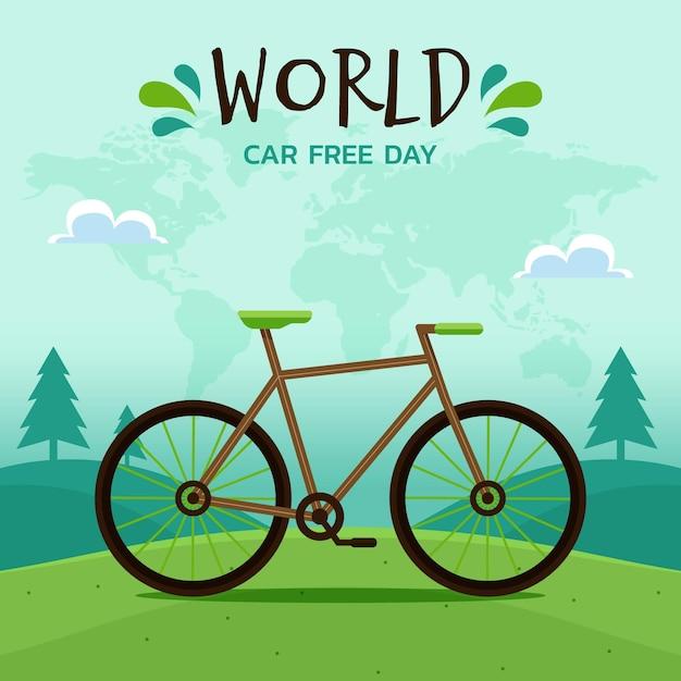 Weltautofreier tag mit fahrrad Kostenlosen Vektoren