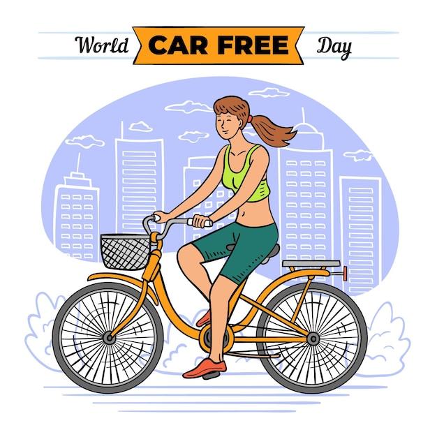 Weltautofreier tag mit frau auf fahrrad Kostenlosen Vektoren