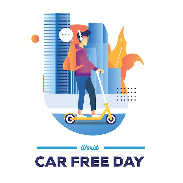 Weltautofreier tagesillustration mit einem mann fahren eine mono-kapsel in der stadtstraße Premium Vektoren