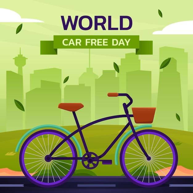 Weltautofreier tagesillustration Kostenlosen Vektoren