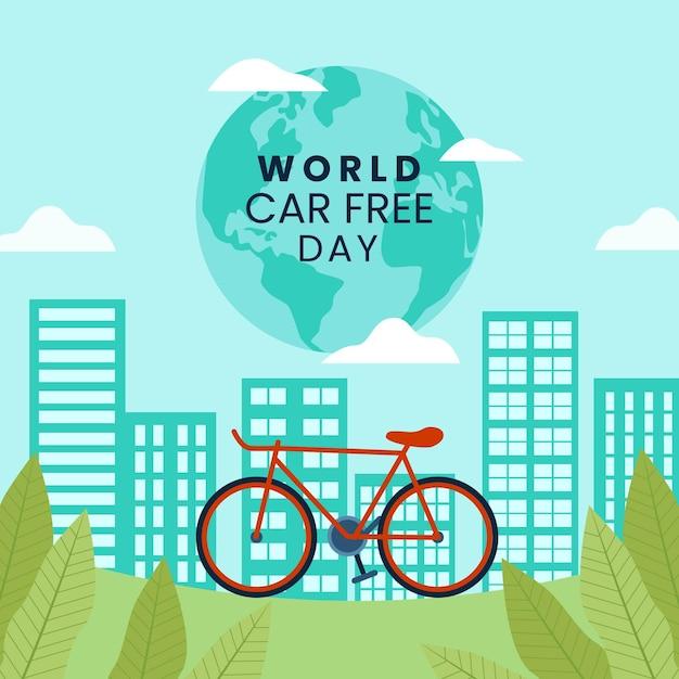 Weltautofreier tagesthema Kostenlosen Vektoren