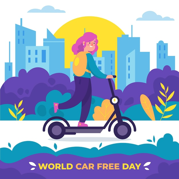 Weltautofreies tagesereignis Kostenlosen Vektoren
