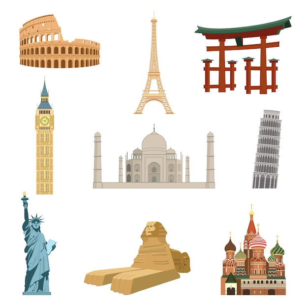 Weltberühmte wahrzeichen satz von eiffelturm statue der freiheit taj mahal isoliert vektor-illustration Kostenlosen Vektoren