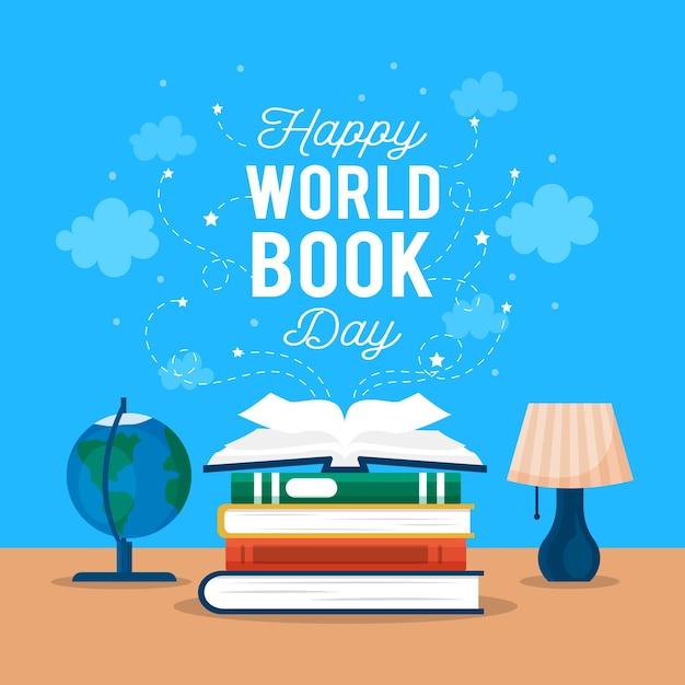 Weltbuchtag mit büchern und globus Kostenlosen Vektoren