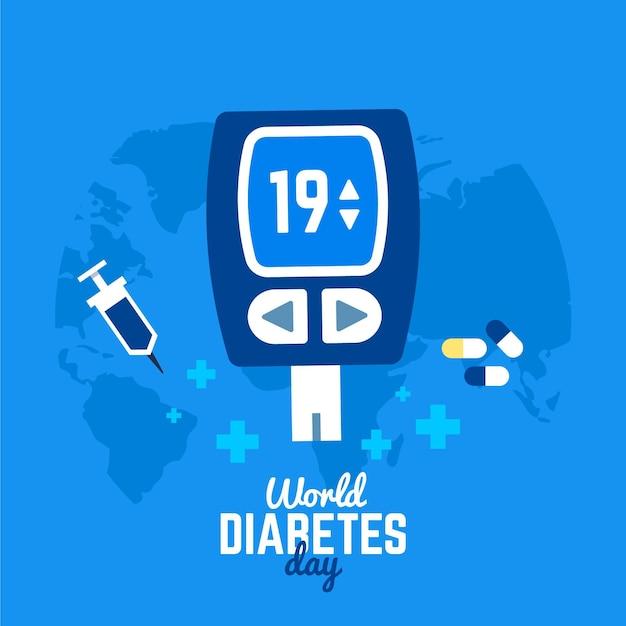 Weltdiabetestag des flachen entwurfs Kostenlosen Vektoren