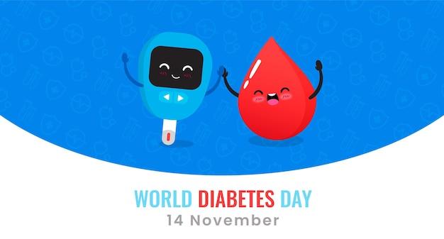 Weltdiabetestag-glukometer und blutstropfenbanner Kostenlosen Vektoren