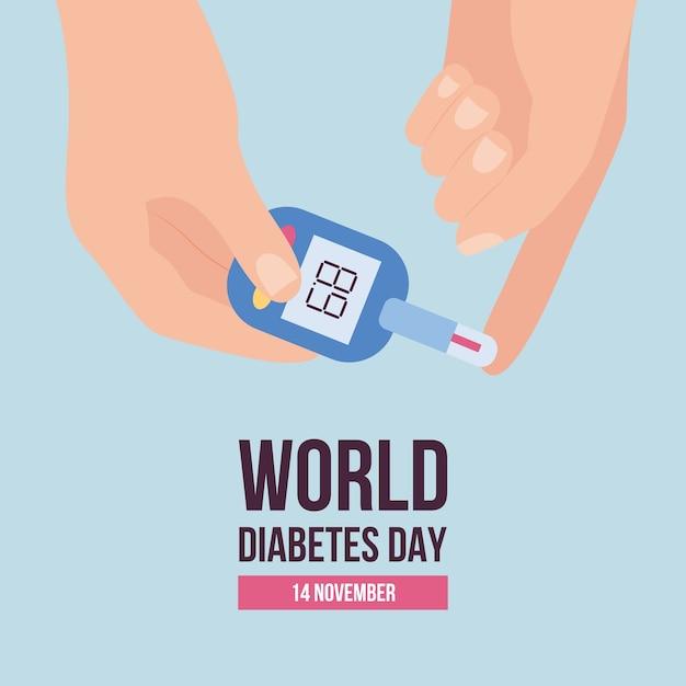 Weltdiabetestag im november banner oder plakatschablone mit glukosemessgerätillustration auf blauem hintergrund. diabetes-krankheitsbewusstsein und patientenunterstützung. Premium Vektoren
