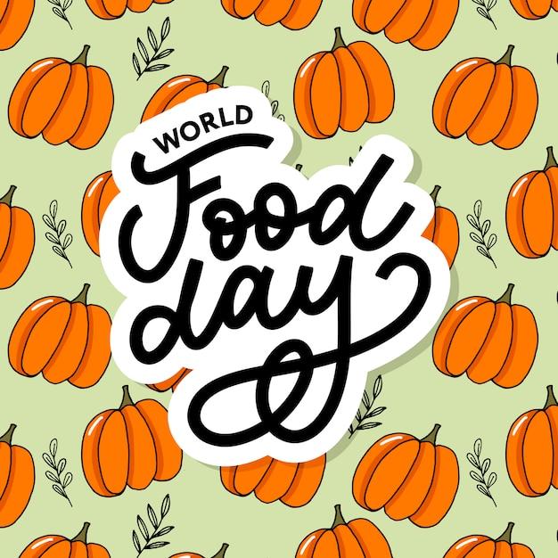Welternährungstag-aufkleberbeschriftung Premium Vektoren