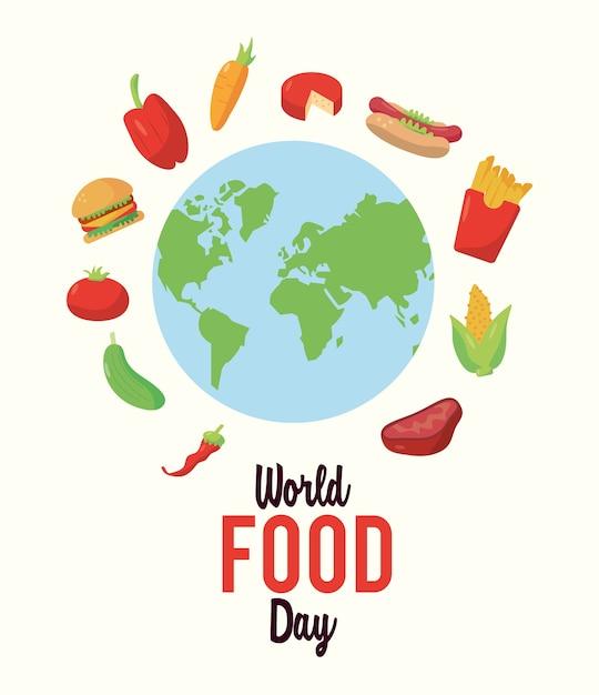 Welternährungstag-beschriftungsplakat mit lebensmitteln um den erdplaneten-illustrationsentwurf Premium Vektoren
