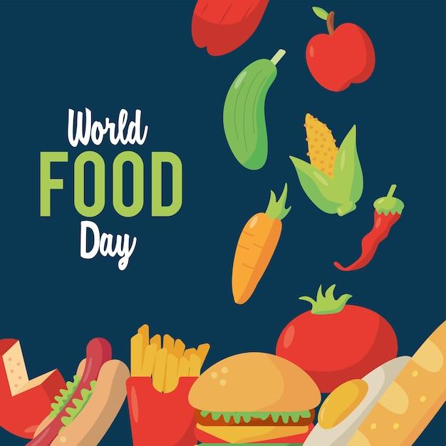 Welternährungstag-beschriftungsplakat mit nahrhaftem lebensmittelillustrationsdesign Premium Vektoren