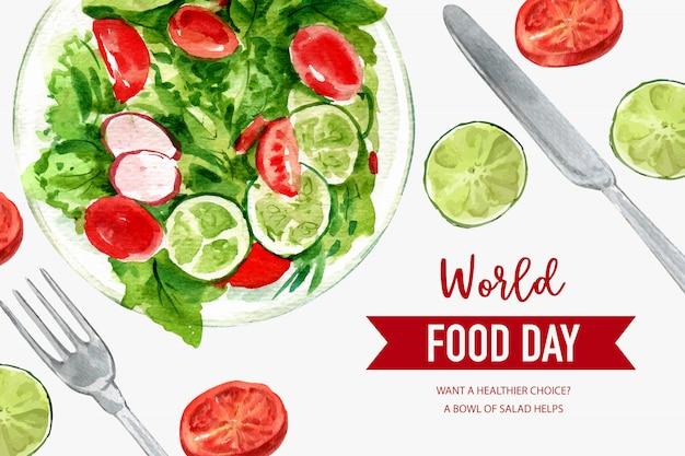Welternährungstag feld mit tomate, erbsen, kalk, kopfsalataquarellabbildung. Kostenlosen Vektoren