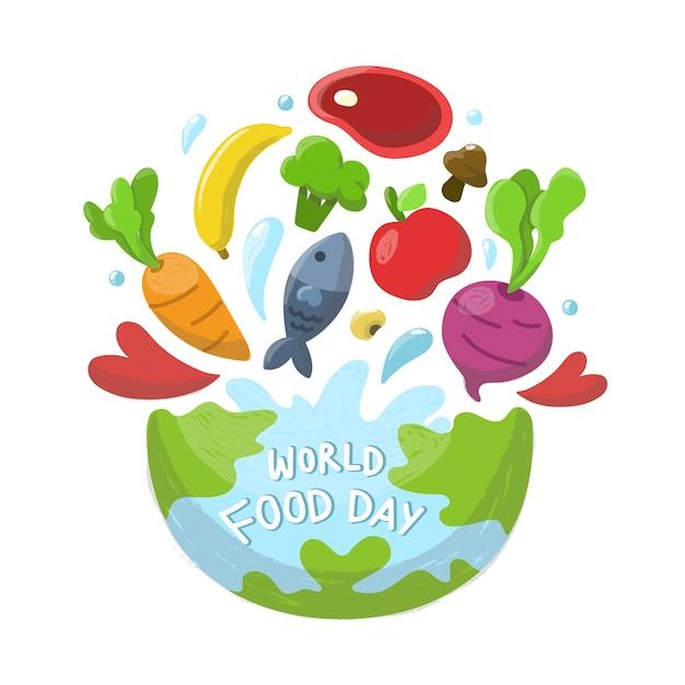 Welternährungstag hintergrund. Premium Vektoren