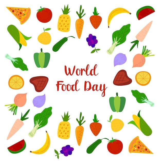 Welternährungstag mit farbenfrohen obst, fleisch und gemüse elementen Premium Vektoren