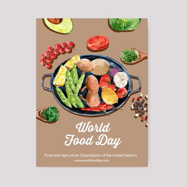 Welternährungstag-plakat mit avocado, erbsen, zitrone, tomatenaquarellillustration. Kostenlosen Vektoren